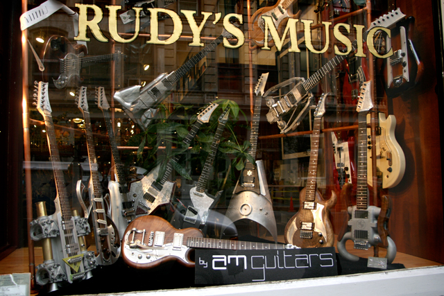AM Guitars %40 Rudy's Music front window